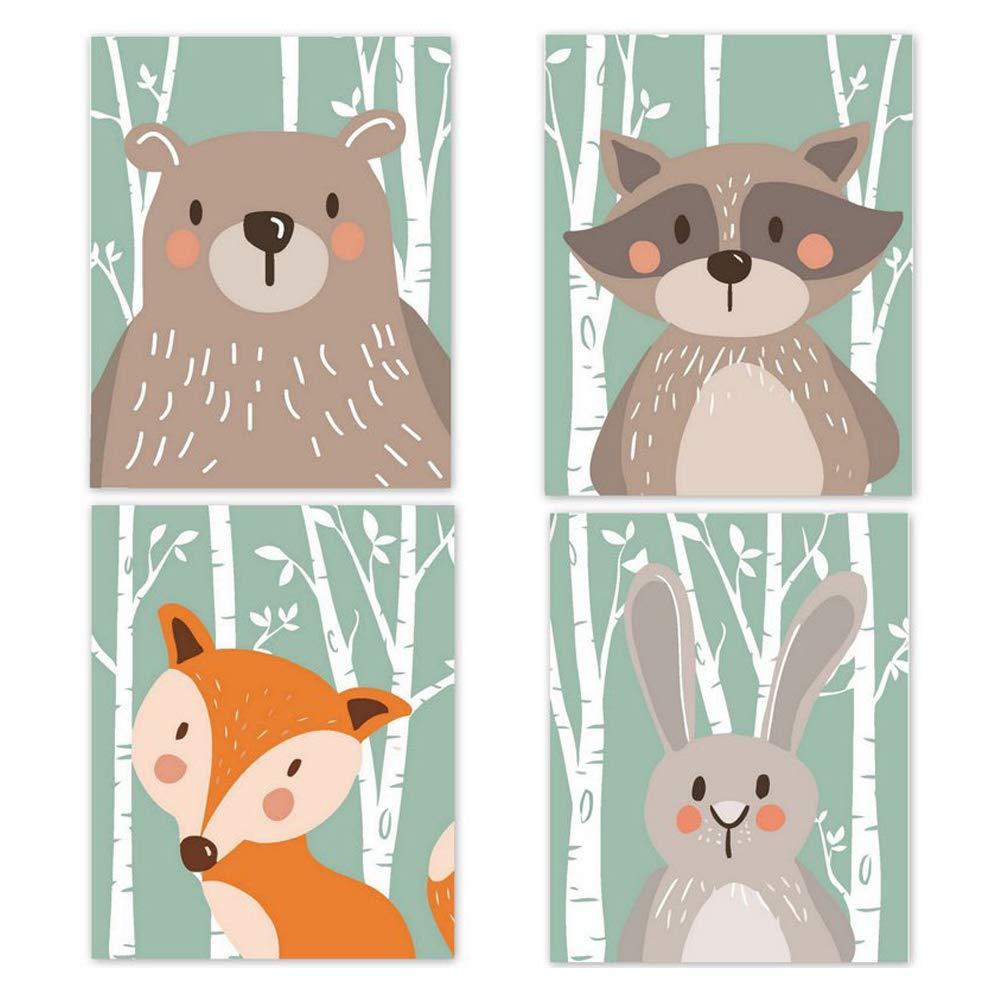 Lot de 4 poster pour chambre denfant Motif animaux de la for/êt Safari scandinave Format A4 vert