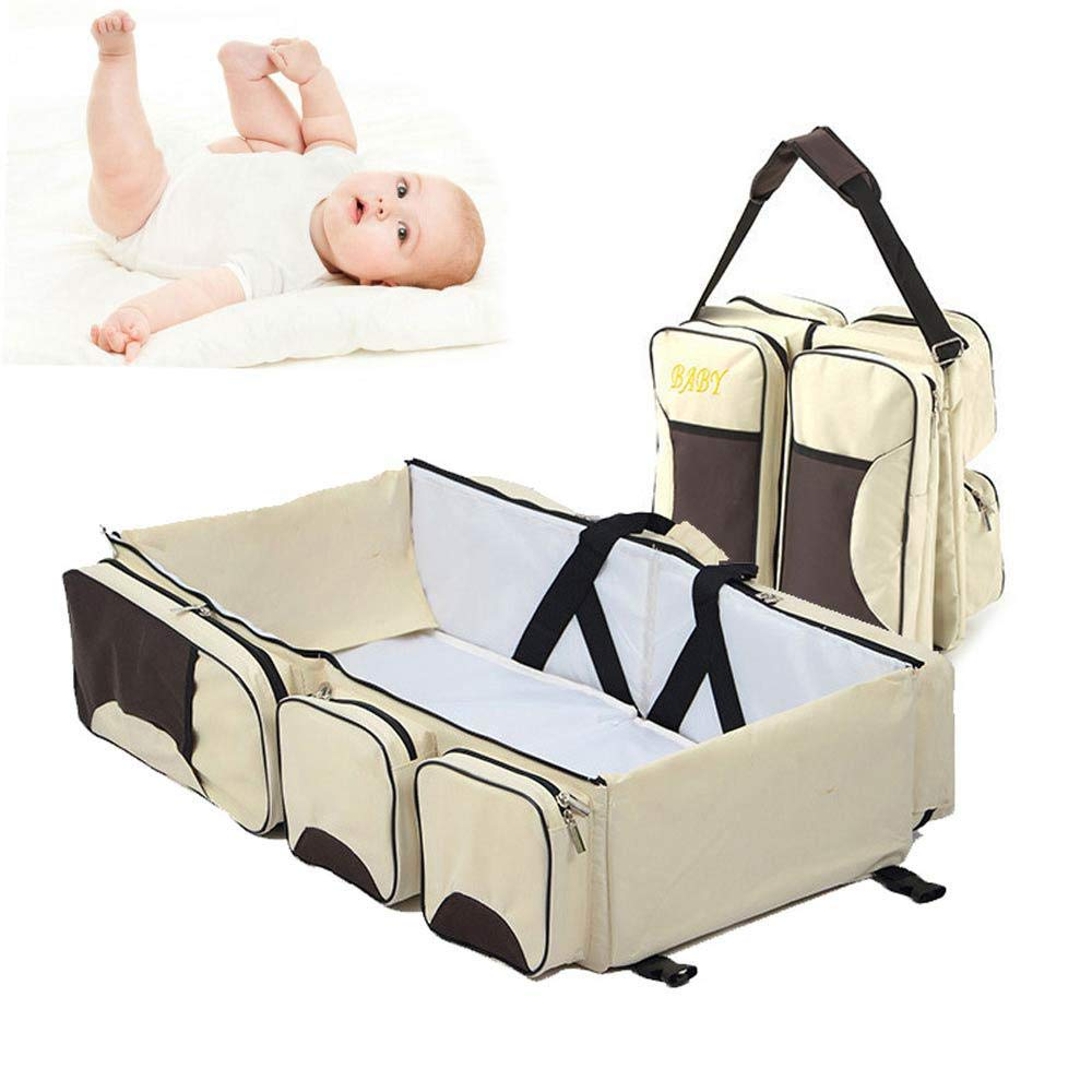 Creamy White Womdee 3-in-1 Universal Infant Travel Tote, Portable Diaper Bag & Travel Bassinet Crib & Changing Station for Newborns or Baby - Pink