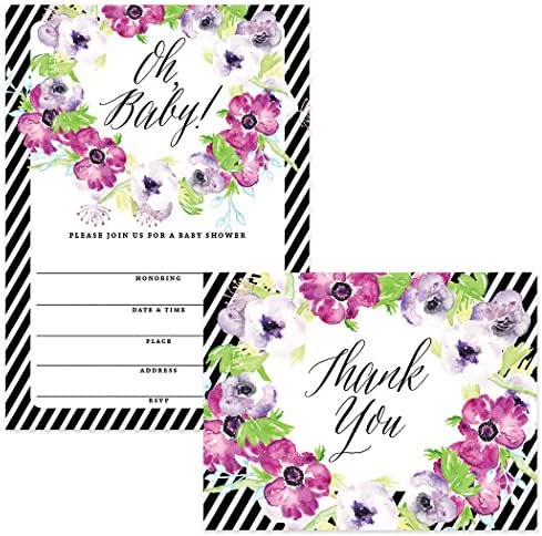 Baby Shower Invitations (100) & Matching Thank You Cards (100), Envelopes Included, Large Gathering Mom-to-Be Party Boy Girl Neutral Fill-in Guest Invites & Folded Thank You Notes Best Value Set