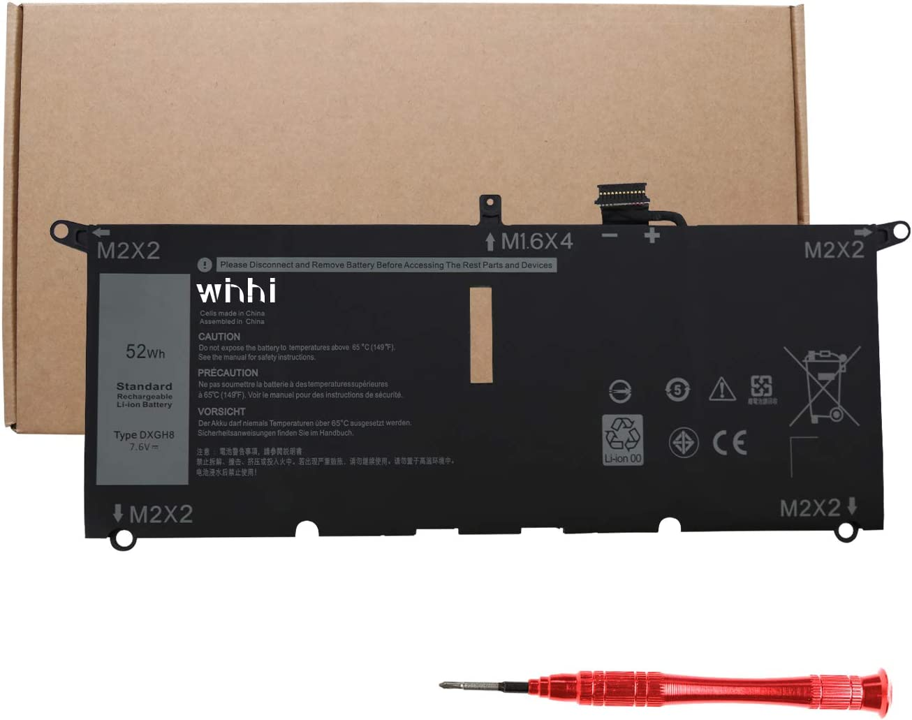 2021 WINHI New DXGH8 Laptop Battery Compatible for Dell Inspiron 13 5390 5391 7390 2-in-1 14 7490 XPS 13 9370 9380 Latitude 3301 E3301 Vostro 5390 5391 XPS 13-9380-D1501S 13-9380-D1505S 7.6V 52Wh
