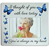 Memorial Picture Frame - I Thought of You with Love Today - Beautiful Tribute to the Loss of a Loved One - Ceramic Keepsake Plaque - Bereavement Gift - Sympathy - in Loving Memory