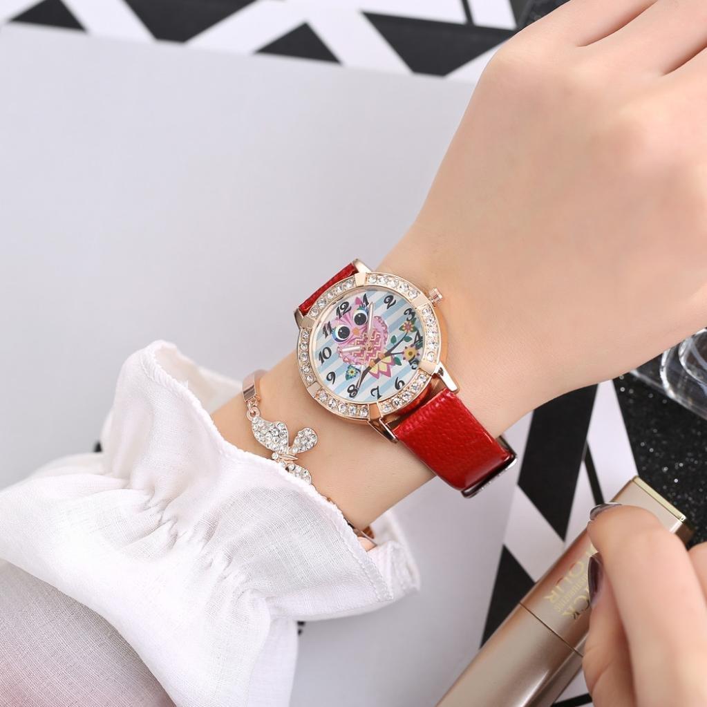 LtrottedJ Women Fashion Leather Band Analog Quartz, Round Wrist Watch ,Watches (Red)