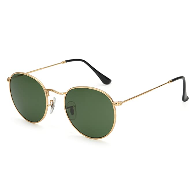 b2c6c497d99 Small Round Vintage Mirror Lenses UV Protection Unisex Sunglasses by HMIAO  (Gold Frame