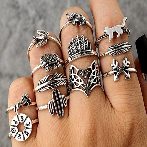 Pratinthip 12pcs/Set Bohemia Antique Silver Arrow Elephant Fox Lion Pony Pattern Carved Animal Rings Sets for Women Jewelry (Antique Style Pearl Ring)