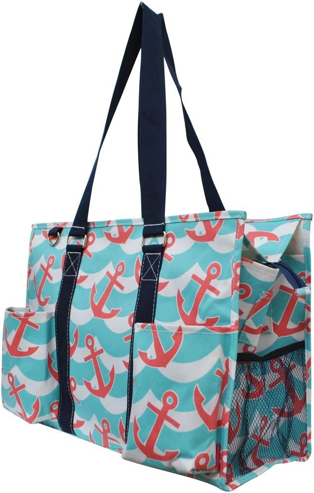 Ocean Themed Prints NGIL Large Travel Caddy Organizer Tote Bag (Turquoise and Pink Anchor Print)