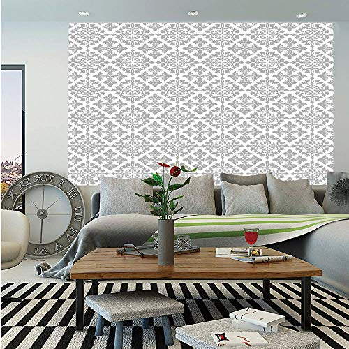 (SoSung Grey Wall Mural,Antique Victorian Floral Retro Patterns in Modern Graphic Print Old Fashioned Boho Art Decorative,Self-Adhesive Large Wallpaper for Home Decor 83x120 inches,Gray White)