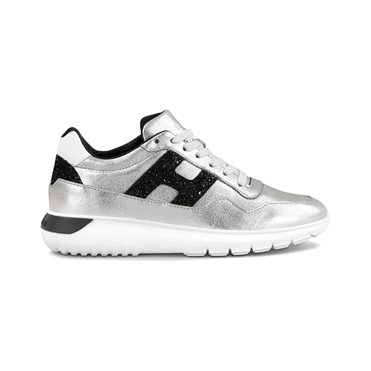 Hogan INTERACTIVE3 IN Silver Leather and Black, Mujer. 38,5