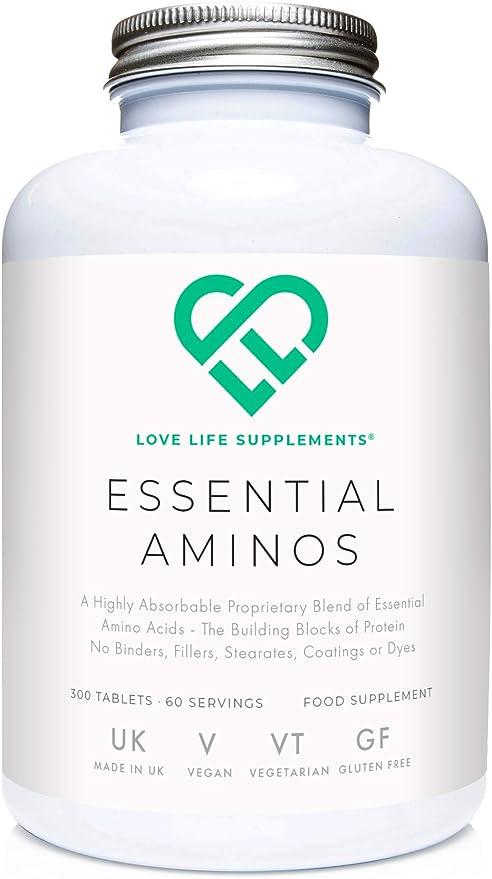 Aminoácidos Esenciales (EAAs) de LLS   Incluye los 3 BCAAs más 5 aminoácidos más necesarios para construir y reparar el músculo   300 tabletas / 60 ...