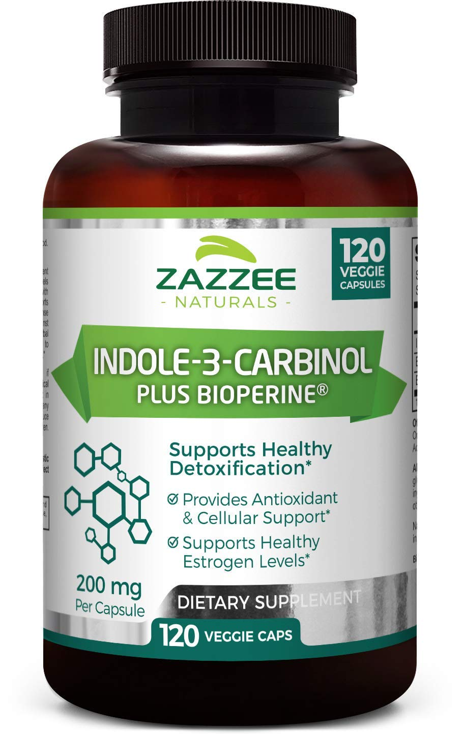 Zazzee Indole-3-Carbinol I3C , 120 Veggie Caps, 4 Month Supply, 200 mg per Capsule, Plus 5mg BioPerine for Enhanced Absorption, Vegan, Non-GMO and All-Natural
