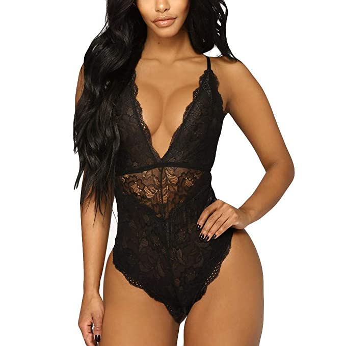 Aranmei Women Deep V Sexy Lace Bodysuit Snap Crotch Lingerie Teddy  Underwear (Black 035e0b04a