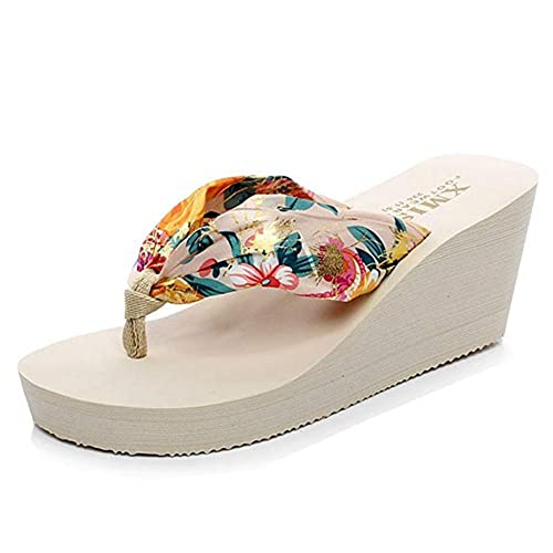 bae1c89bc Women s Bohemia Wedge High Heel Flip Flops Sandals Platform Sandals Thick  Bottom Summer Beach Thongs Slippers