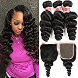 Hermosa Hair Brazilian Loose Wave 3 Bundles with Closure 8 A Brazilian Loose Wave with Closure Brazilian Virgin Human Hair Bundles with Closure 4×4 Free Part (20 22 24+18″ closure, Black Color) For Sale