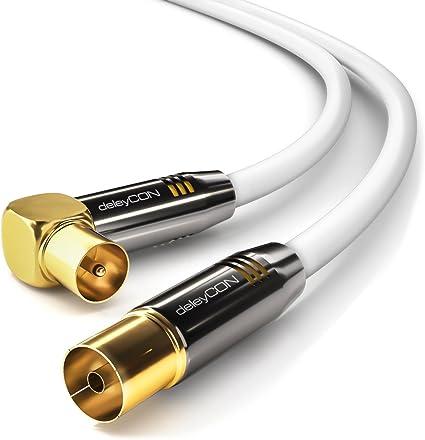 deleyCON 2m Cable de Antena de TV Cable Coaxial 1x Enchufe de TV 90° en Ángulo para Toma de TV Recta - TV HDTV Radio DVB-T2 Full HD Tapón de Metal - ...