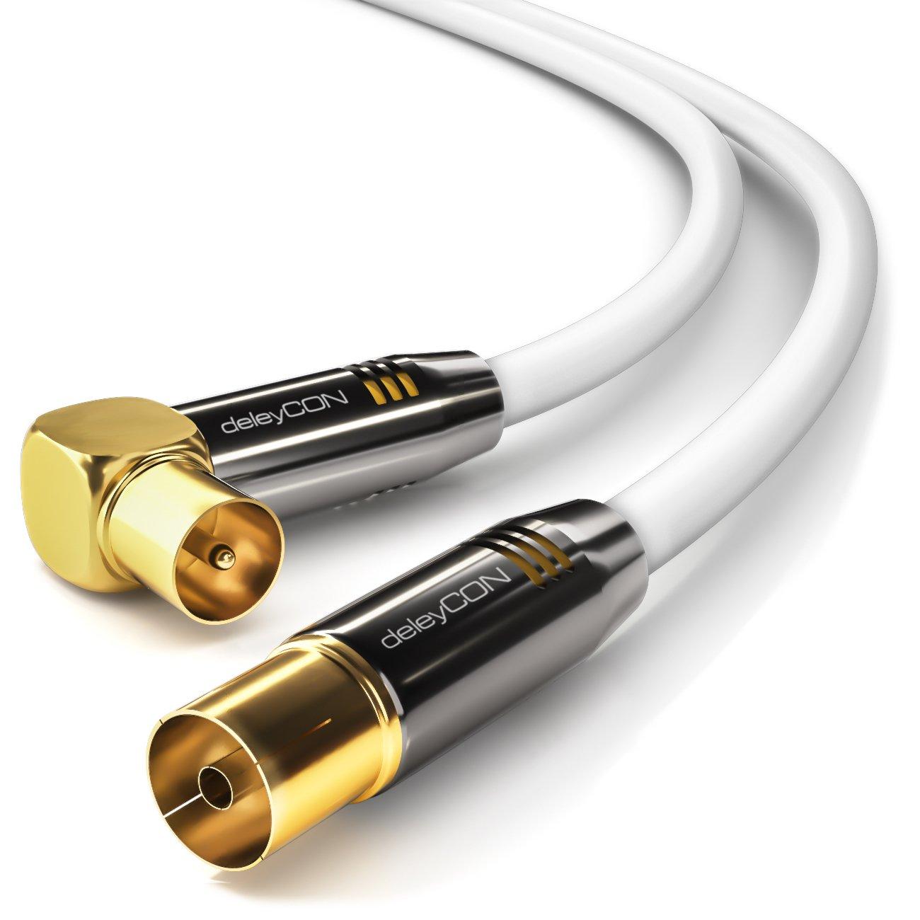 deleyCON TV Cable de antena 7,5m Cable coaxial / Conector dorado 90° macho de TV / hembra de TV rectos Conector de metal 100dB UltraHD FullHD: Amazon.es: ...