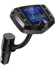"""FM Transmitter, NULAXY 1.8"""" Farbbildschirm Transmitter (2019 NEU) W/QC 3.0 untstützt Auto Batterie Lesen/Handsfrei Anrufen/unterstützt USB/TF Carte, Aux, EQ Mode(KM29)"""
