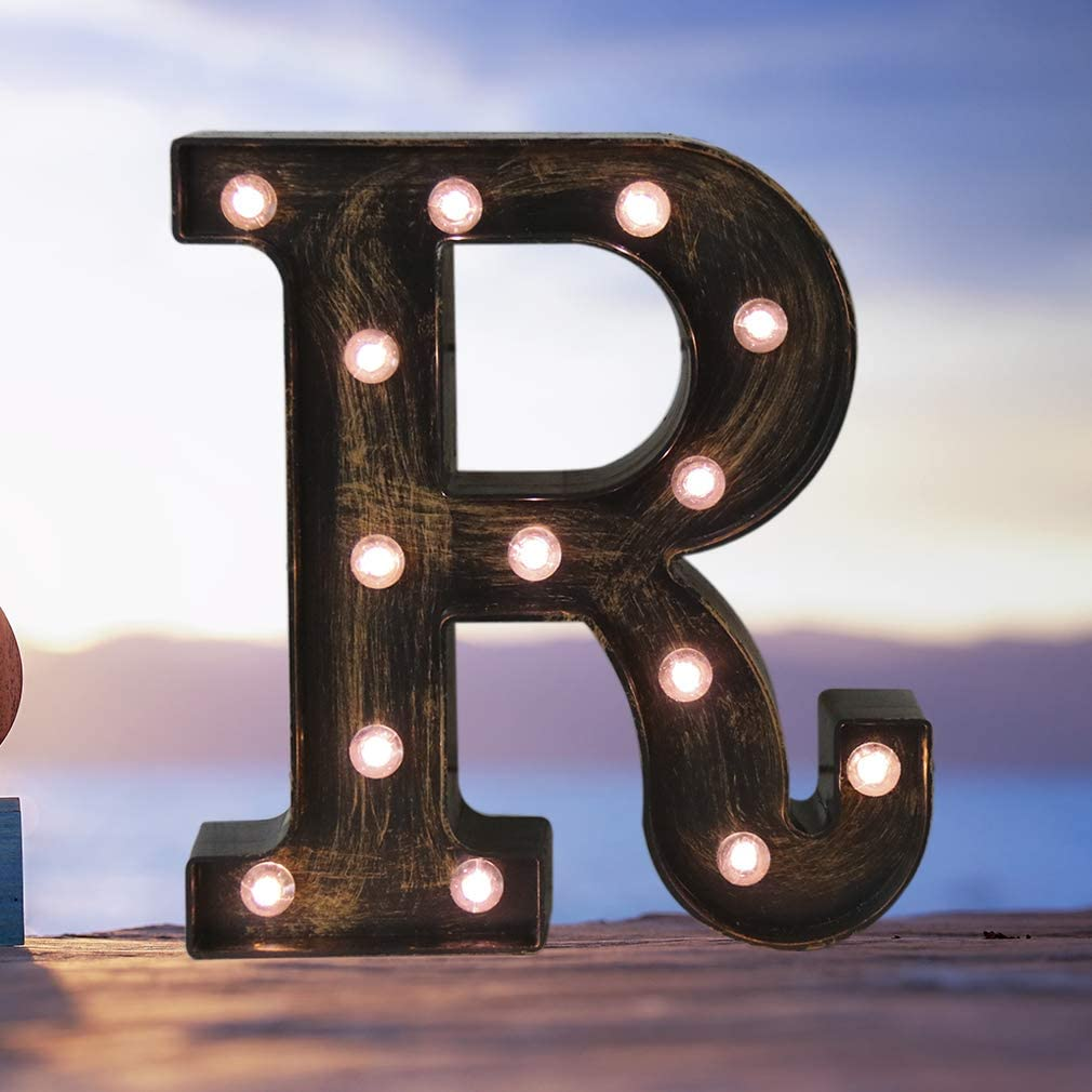 Industrial LED Marquee Letter Lights 26 Alphabet Light Up Name Sign Vintage Style Letter Lamp for Birthday Party Christmas Perfect for Events or Home Bar Decor(Letter R)