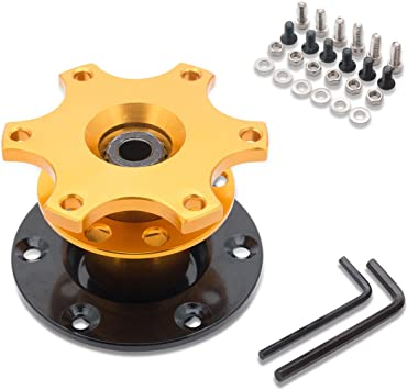 Gold Universal Aluminum Car Quick Release Steering Wheel Quick Release Hub Adapter Snap Off Boss Kit Race Rally Motorsport