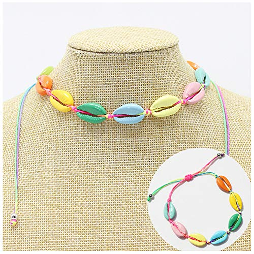 Yuexi Trading Co.,Ltd. Boho Colorful Cowrie Shell Choker Necklace for Women Girls Seashell Cord Necklace Adjustable Beach Necklaces and Bracelet 2 pc/Set (Rainbow Choker Necklace Bracelet Set)