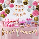 Pink and Gold Baby Shower Decorations Kit | Extra Large 30pcs Set | It's A Girl | Pink Gold White | Hanging Party Decorations | Best for Your Perfect Baby Shower Party