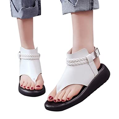 e6e1afb0e45e Amazon.com  Creazrise Women s Ankle Buckle Gladiator Low Wedge Sandal  Ladies Braided Strappy Beach Shoes (Black