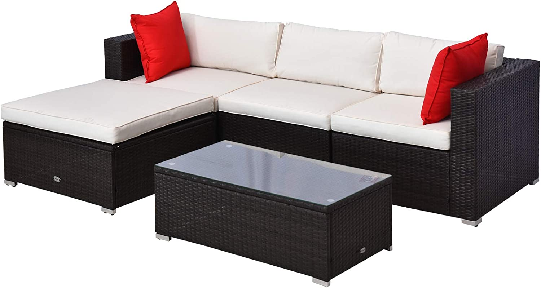 Outsunny 5 Piece Outdoor Patio PE Rattan Wicker Sofa Sectional Furniture Set, Brown/Cream White