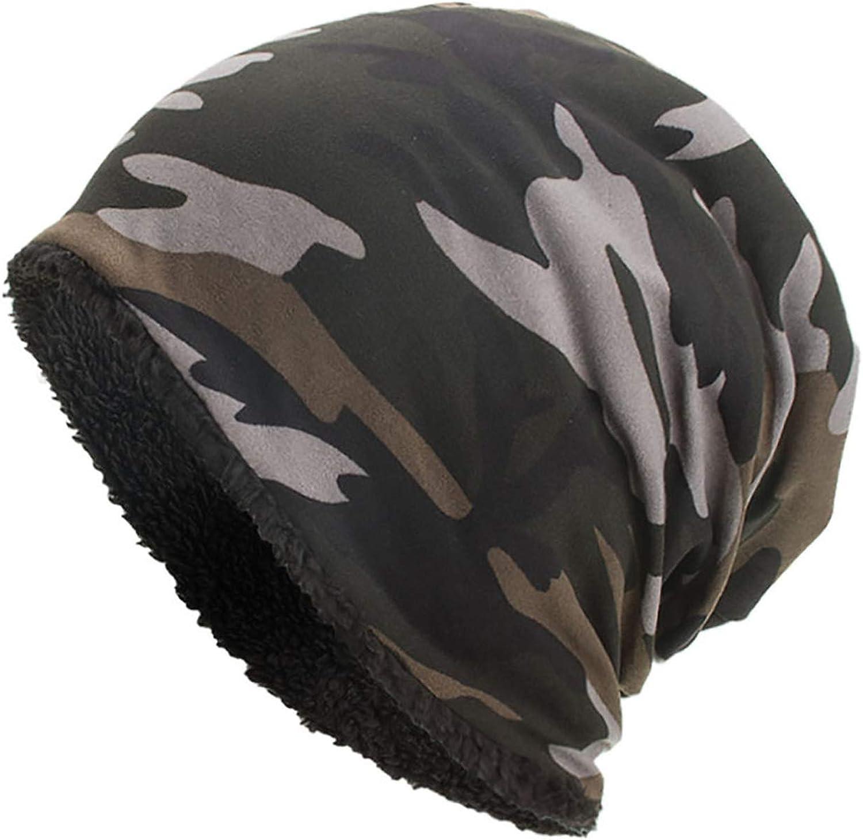 Fenyoung-knitted hat Hats for Women Men Camouflage Print Skullies Beanie Unisex Warm Cap Bonnet Femme