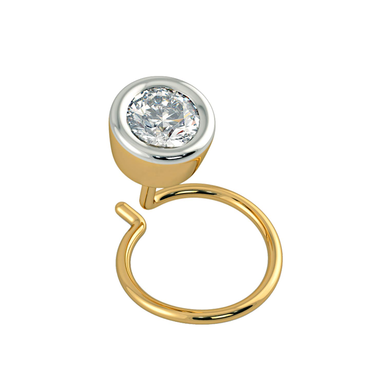 House of Kanak LLC 0.10 Ct Natural Diamond 14K Yellow Gold Nose Body Piercing Stud Pin with Back Side Wire