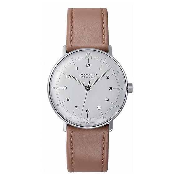Junghans Max Bill Handaufzug - Reloj analógico de caballero automático con correa de piel marrón: Amazon.es: Relojes