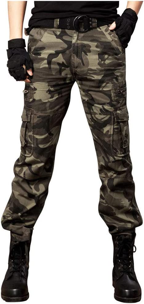 Yongyong Mens Thin Straight Straight Slim Cotton Camouflage Pants Outdoor Military Training Sports Casual Multi-Pocket Overalls Color : Green B, Size : 32