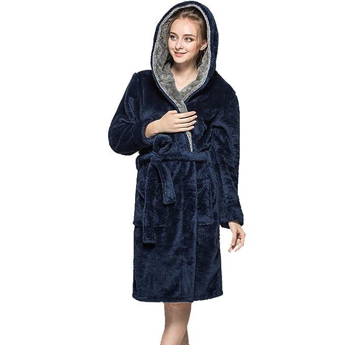 WTUS Albornoz de Pijamas de Pareja para Mujer,Cian