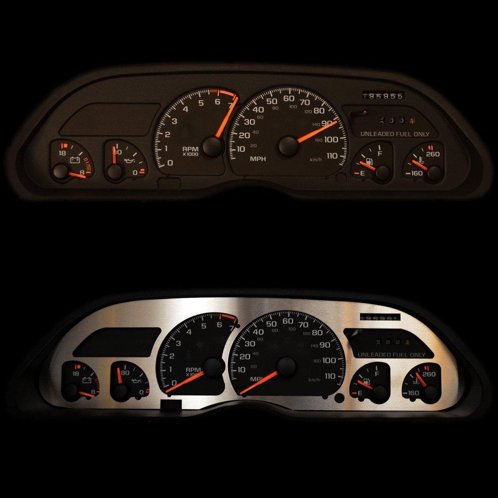 1998-2004 Chevy S10 No Tachometer BZL-239-Brushed-02 RPM Gauges Ferreus Industries Brushed Stainless Gauge Cluster Dash Bezel Trim fits