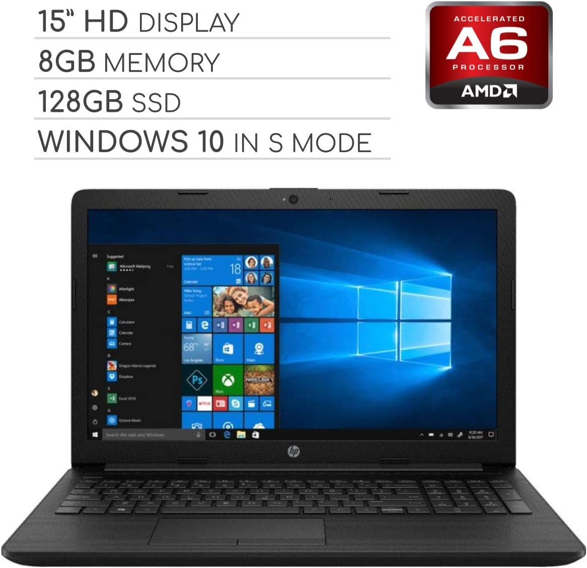 HP Pavilion 2019 15.6 HD LED Laptop Notebook Computer PC, 2-Core AMD A6 2.6GHz, 8GB DDR4 RAM, 128GB SSD, DVD, HDMI, RJ-45, USB 3.0, Bluetooth, Webcam, Wi-Fi, Windows 10 Home in S Mode