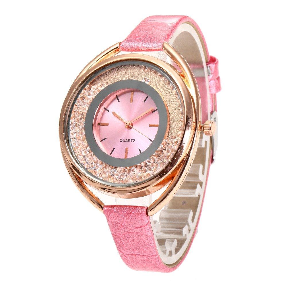 Kinlene relojes niña, Fashion Casual de cuero de cuarzo analogico redondo reloj (B): Amazon.es: Relojes
