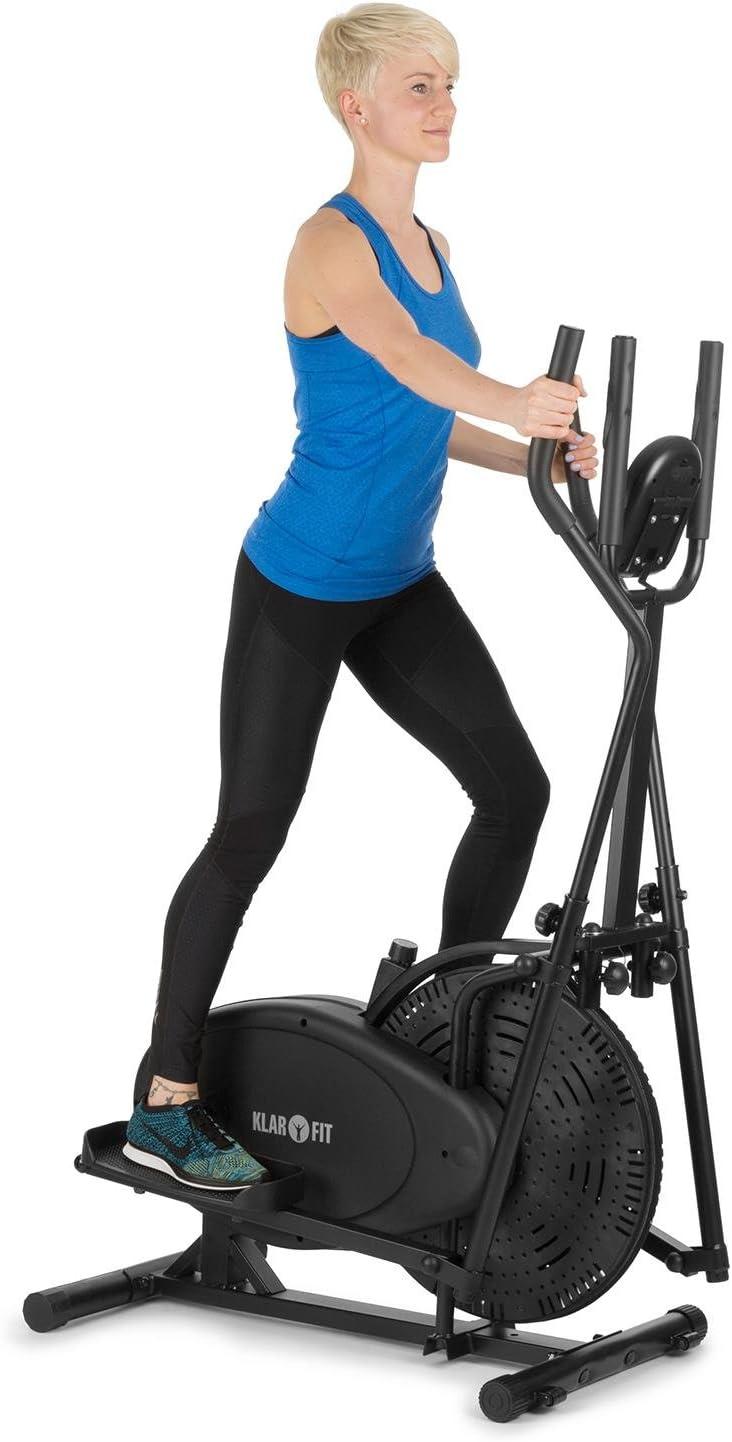 Klarfit Orbifit - Máquina de Correr elíptica, Bicicleta elíptica, Pulsómetro, Altura Regulable, Estructura de Acero, Agarre Acolchado, Pedales Antideslizantes, hasta 100 kg