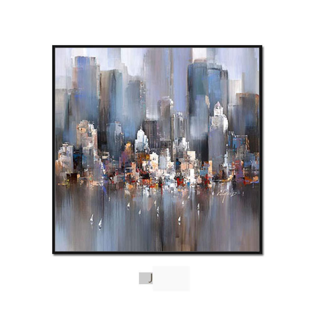 DEED Pintura Abstracta Minimalista Moderna de la Ciudad, Pintura Triple de la decoración de la Pared del Fondo del sofá de la Sala de Estar, Pintura de Pared del Dormitorio del Comedor,yo,50  50