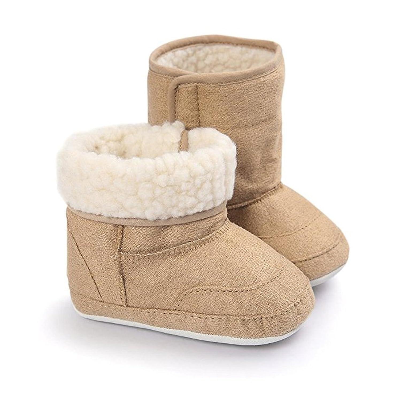 LAROK Baby Premium Soft Sole Bow Anti-Slip Mid Calf Warm Winter Infant Prewalker Toddler Snow Boots