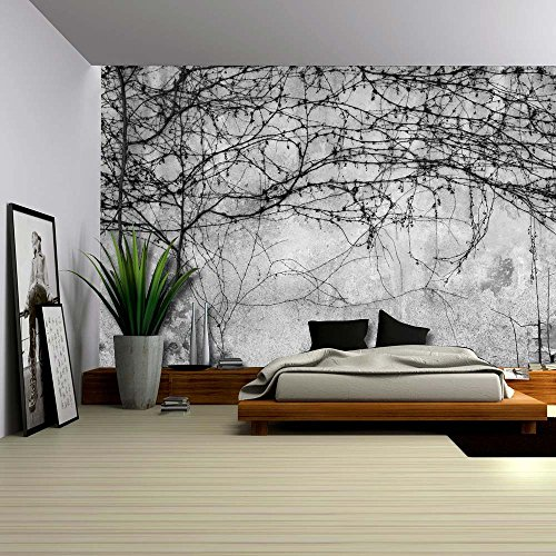 wall26-black-branches-growing-on-a-pavement-wall-wall-mural-removable-wallpaper-home-decor-66x96-inc