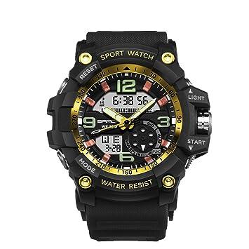 SANDA Reloj Deportivo LED Digital para Hombre Reloj Militar Multifuncional Resistente a los Golpes Reloj LED Luminoso Impermeable: Amazon.es: Electrónica