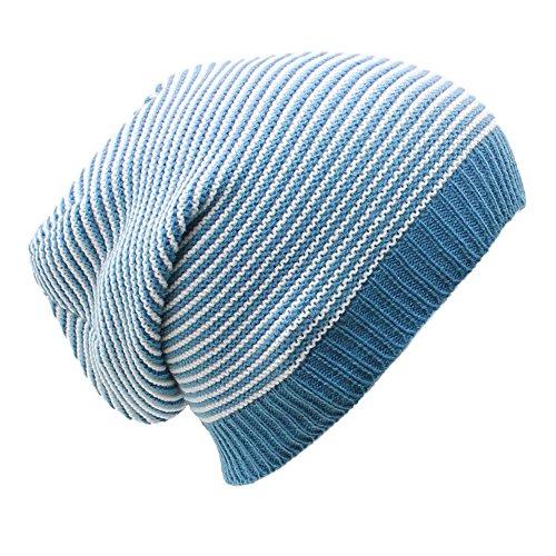 an Dreadlock Beanie Hat Blue & White Striped Knit Slouchy Lightweight Soft (Dreadlock Knit Hat)