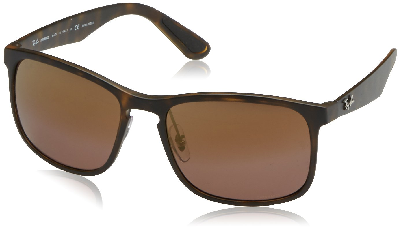RAY-BAN RB4264 Chromance Mirrored Square Sunglasses, Matte Tortoise/Polarized Purple Mirror, 58 mm by RAY-BAN