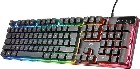 Trust Gaming GXT 835 Azor Teclado Retroiluminado Layout español (3 Modos de Color LED, Anti-Ghosting, 12 Teclas para Funciones Multimedia) Negro