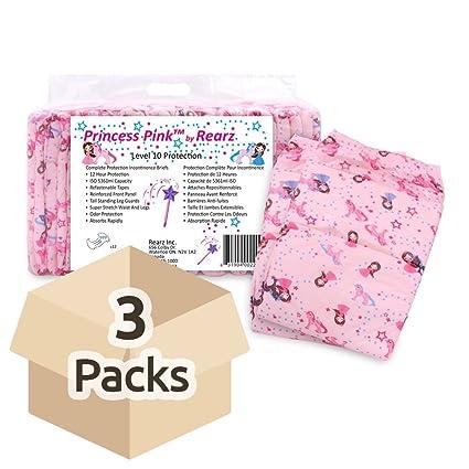 rearz princesa Rosa Grande pañales de adultos – Funda de 3 paquetes de 12