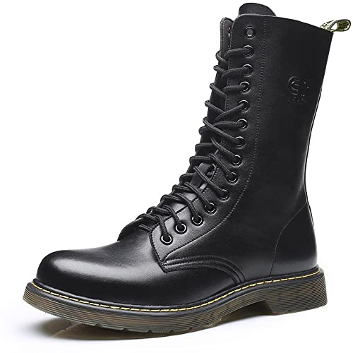 e81424f054a1a Vintage Military Boots Men High Genuine Leather Riding Boots Motorcycle  Shoes Martin Long Boots