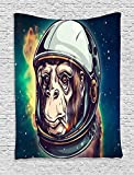 """Space Chimp Illustration Tapestry Decorations by Wen ty,Bedroom Living Kids Girls Boys Room Dorm Accessories Wall Hanging Tapestry (40"""" W By 60"""" L)"""