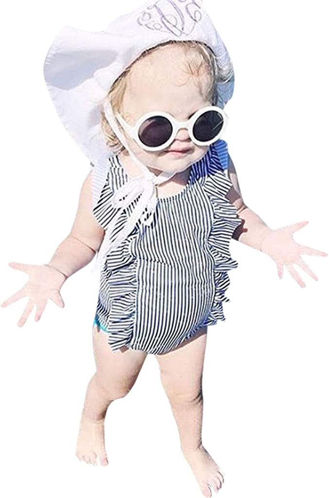 Weant Newborn Baby Infant Toddlers Girls Lovely Stripe Print Ruffles Monokini Swimsuit One-Piece Bathing Suit Beach Swimwear for Kids Holiday Outfit Gifts Girls Swimming Costume 1-5 Years