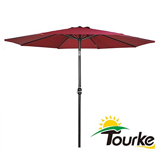 Tourke 9 Ft Patio Umbrella Outdoor Table Umbrella Crank, 8 Rids, Push Button Tilt,for Garden, Deck, Backyard, Swimming Pool and More Wine