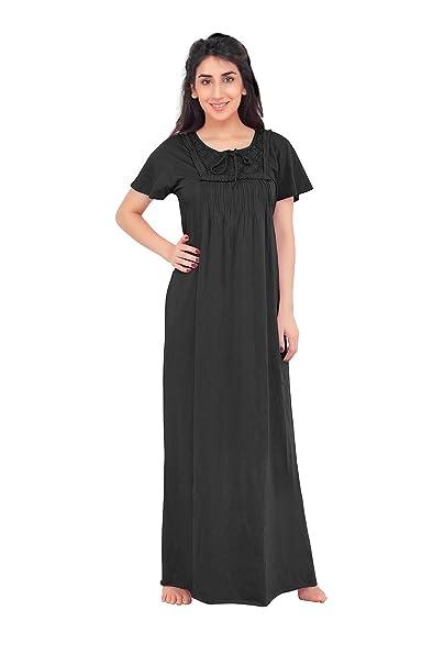 4a32ed5c192 HoneyDew - Womens Cotton Hoseiry Plain Nighty - Black Color
