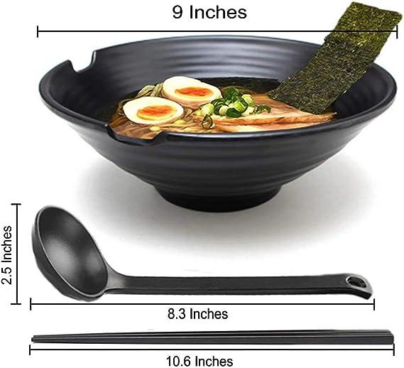 KLDX 4 Juegos (12 Piezas) Tazón de Sopa de Fideos Ramen japoneses Juego de vajilla de plástico Duro de melamina para Fideos asiáticos Udon Soba Pho para Fideos asiáticos Udon Soba Pho: