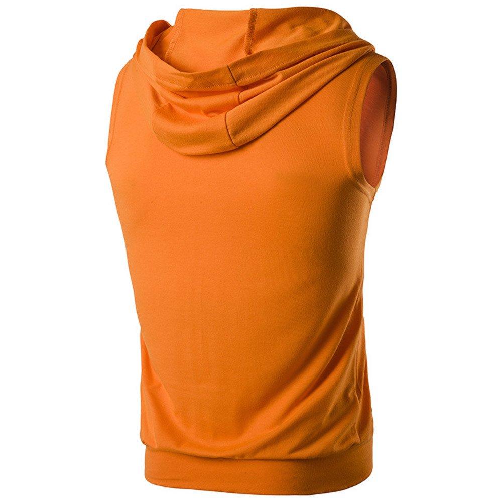 MODOQO Mens Sleeveless Zipper Hoodies T-Shirt Casual Slim Fit Summer Solid Tee Tops
