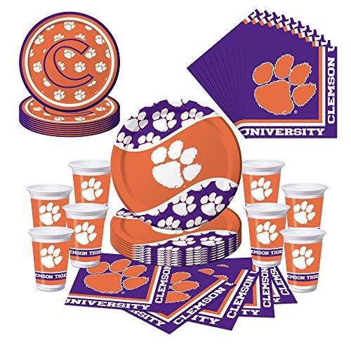 Clemson Tigers Party Pack - Plates, Cups, Napkins - Serves 8